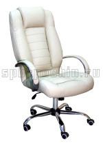 Кресло руководителя КР-21 белого цвета в комплектации «Хром»