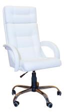 Белое офисное кресло руководителя КР-7  в комплектации «Хром»