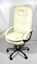 Компьютерное кресло руководителя КР-23 с высокой спинкой,  белое с вышивкой