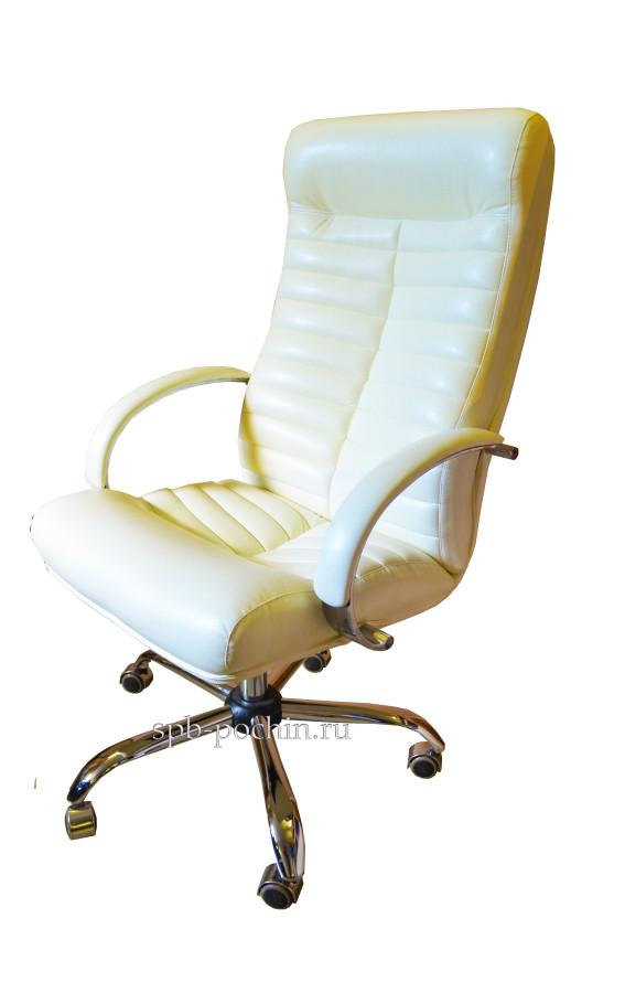 Белое компьютерное кресло КР-14а в комплектации «Хром»