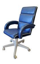 Компьютерное малогабаритное кресло КР-16н синего цвета (белый низ)