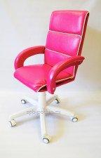 Кресло кожаное малогабаритное КР-16н  фуксия  белый низ