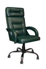Офисное кресло руководителя КР-7 темно-зеленое в комплектации «Хром»