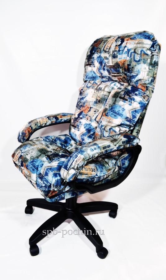 Компьютерное кресло КР-27 с высокой спинкой принт, флок