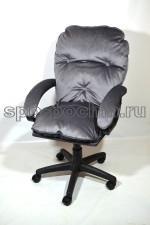 Мягкое удобное компьютерное кресло КР-29 серый велюр