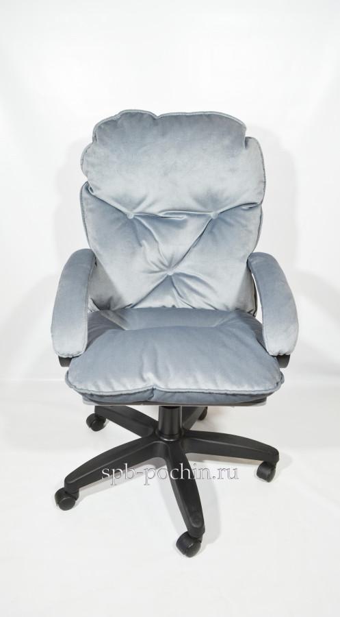 Мягкое удобное компьютерное кресло КР-29 из серого велюра