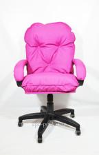 Мягкое удобное розовое компьютерное кресло КР-29 тканевое
