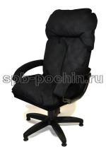 Компьютерное кресло с высокой спинкой КР-27 черное (велюр)