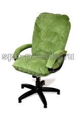 Мягкое удобное компьютерное кресло КР-28 из ткани зеленое