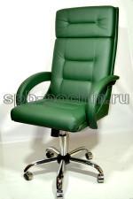 Офисное кресло руководителя КР-7 зеленое в комплектации «Хром»