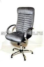 Серое тканевое компьютерное кресло КР-14а  (велюр)  в комплектации Хром
