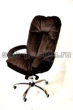 Компьютерное кресло для больших людей до 130 кг  КР-27Ц  велюр  шоколад