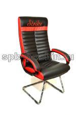 Конференц-кресло  в черно-красном цвете КР-14 с вышивкой.