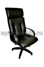 Кресло руководителя кожаное КР-17 с высокой спинкой черное