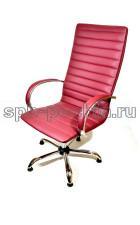 Кресло руководителя КР-18 бордовое в комплектации «Хром»