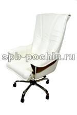 Кресло руководителя  КР-1 Люкс белое  в комплектации Хром