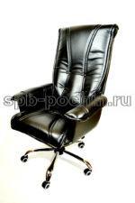 Кресло руководителя  КР-1 Люкс черное  в комплектации Хром